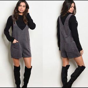 Pants - Gray Cotton Corduroy Overall Romper